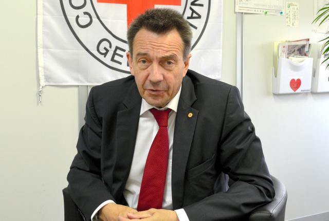 赤十字国際委員会(ICRC)のペーター・マウラー総裁=東京都内、高野裕介撮影