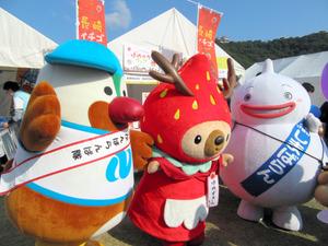 県内1位のしまばらん(右)、2位のゆめずきんちゃん(中央)、3位のがんばくん=6日、松山市、県提供