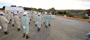 中間貯蔵施設の着工現場=15日午前9時41分、福島県双葉町、杉村和将撮影
