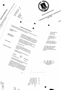 パナマ文書の中にあった英領バージン諸島の法人の登記関係資料。いがらしゆみこさんの本名が漢字で記されているが、本人の筆跡ではないという