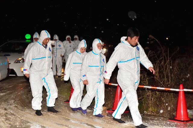 アヒルの殺処分のため、農場に入る県職員=28日午後10時40分、青森市四戸橋、榎本瑞希撮影