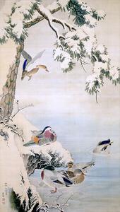 「雪中水禽図」=個人蔵