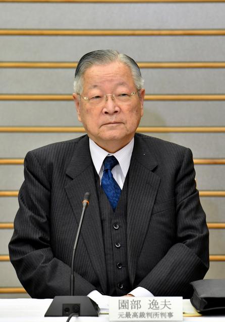 元最高裁判事の園部逸夫氏=30日午前11時19分、首相官邸、恵原弘太郎撮影