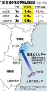 11月22日の津波予想と観測値/津波エネルギー