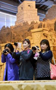 砂の美術館でSNSなどに掲載する写真を撮影するブロガーたち=鳥取市福部町湯山