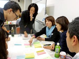 ワークショップで話し合う日本語教師ら。意見を模造紙に貼り、発表した=東京都