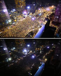 3日夜、ソウル市中心部であった大規模抗議集会。午後7時から1分間、「抗議の消灯行動」を行った(下)=東亜日報提供