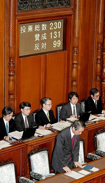 教育基本法改正案が可決され、一礼する文部科学相の伊吹文明=2006年12月15日、参院本会議場