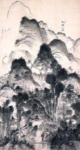 <父>浦上玉堂「一晴一雨図」=個人蔵(重要文化財)