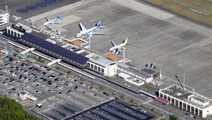熊本空港=熊本県益城町、朝日新聞社ヘリから、河合真人撮影