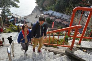 宝厳寺に向かう夫婦。竹生島はパワースポットとして注目され、琵琶湖を渡る若い世代が増えている=長浜市