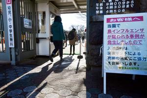 東山動植物園の入り口には、鳥インフルエンザ発生の疑いを知らせる看板が置かれ、来場者は消毒用のマットを踏んで入った=7日午前9時すぎ、名古屋市千種区、小川智撮影
