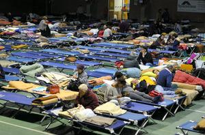 伊中部地震の被災地カメリーノで、避難所となった体育館=山尾有紀恵撮影