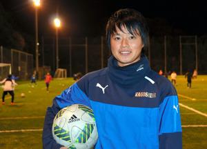 U20女子W杯で得点王に輝いた愛媛FCレディースの上野真実選手=松山市大浦