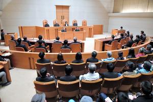辺野古訴訟の最高裁判決が言い渡された第二小法廷=20日午後、東京都千代田区、恵原弘太郎撮影