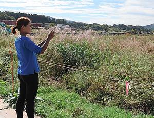 雑草が茂る実家の田畑を撮影する大渡美咲さん=9月、福島県飯舘村