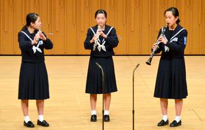 福岡市立香椎第3中学校の木管三重奏=北九州市八幡西区