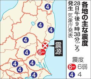 各地の主な震度