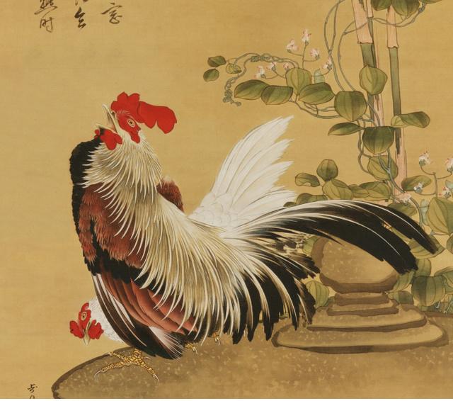 「鶏竹図」に描かれている鶏(部分)