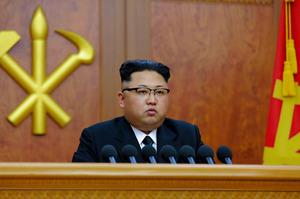 1日、2017年を迎えて新年の辞を発表する金正恩・朝鮮労働党委員長。朝鮮中央通信が報じた=朝鮮通信