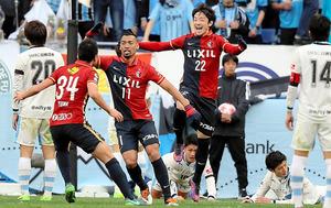 延長前半、勝ち越しのゴールを決めた鹿島のファブリシオ(11)=内田光撮影