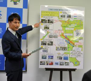 原子力防災訓練について説明する三反園知事=県庁