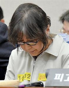 第1回公判に出席したチェ被告=東亜日報提供