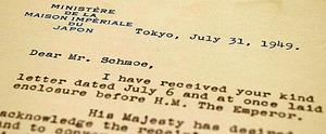 昭和天皇のメッセージを伝えた三谷隆信侍従長(当時)によるシュモー氏宛ての英文書簡。日付は1949年7月31日