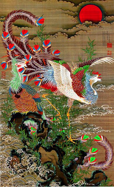 伊藤若冲「旭日鳳凰図」(1755年、186センチ×114.3センチ)=宮内庁三の丸尚蔵館蔵