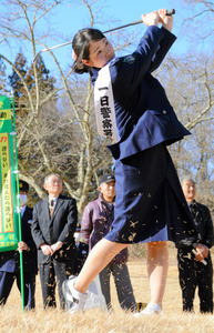 福島)蛭田みな美プロ 110ヤードのショット披露