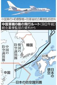 中国軍機8機の飛行ルート(9日午前)