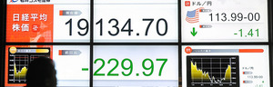 日経平均株価は大幅に下落、円相場は一時1ドル=113円台後半の円高ドル安水準となった=12日午後、東京都