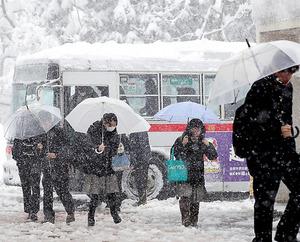 大雪の中、長岡駅からの臨時バスを降り、試験会場の長岡技術科学大学に向かう受験生ら=14日午前9時46分、新潟県長岡市、西畑志朗撮影