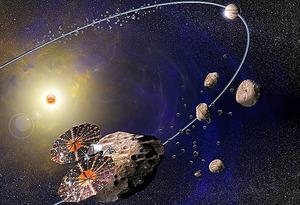 トロヤ群小惑星を目指す探査機ルーシーの想像図