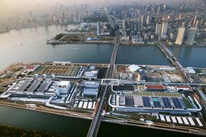 築地市場の移転が予定されている豊洲市場。左手前が水産卸売場棟、右手前が青果棟=東京都江東区、朝日新聞社ヘリから