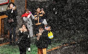 <白い都心 カシャ> 東京都心では短時間雪が舞った。突然の雪に、スマートフォンなどで写真を撮る人たち=14日午後1時4分、東京都中央区、竹花徹朗撮影