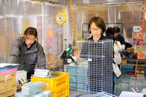 作業場では女性従業員がてきぱきと作業を進めていた=燕市三王渕の栄工業