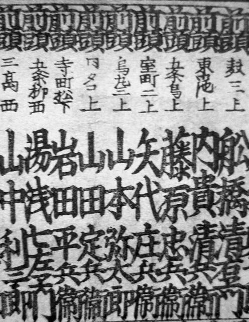 「山本弥太郎」の名(中央)が記された明治初期の長者番付=山本能楽堂提供