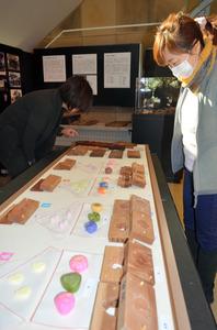 季節を彩るウメやツバキなど、展示されている和菓子とその型=南アルプス市野牛島