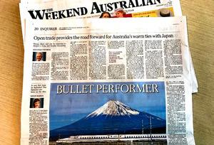ターンブル首相は地元紙オーストラリアン(週末版)に、「安倍首相のシドニー訪問を歓迎する」などとする寄稿をし、14日付で掲載された