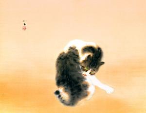 竹内栖鳳「班猫」(1924年)、重要文化財、山種美術館蔵