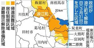 政府が浪江町で解除日(3月31日)を示した区域