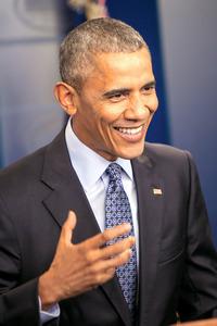ホワイトハウスで最後の会見をするオバマ大統領=ワシントン、ランハム裕子撮影