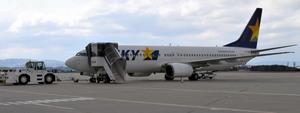 スカイマークの機体=2014年4月、仙台空港