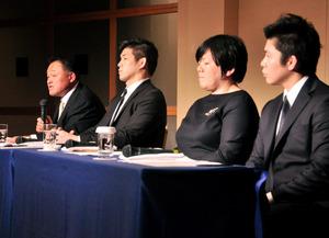 シンポジウムで意見を交わす(左から)山下泰裕、井上康生、塚田真希、日本スポーツ振興センターの鈴木利一の4氏