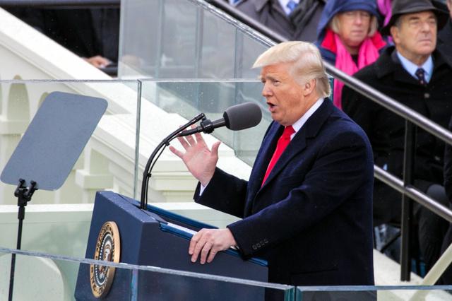 就任演説をするドナルド・トランプ新大統領=20日、ランハム裕子撮影