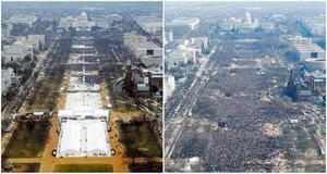 米大統領就任式のため連邦議会議事堂前に集まった人々。トランプ新大統領が就任した今回(左)とオバマ前大統領が就任した2009年(右)=ロイター。現地報道によると、09年は180万人が集まったとみられるが、今回は90万人程度と推測されている。CNNなどが発表したトランプ新大統領の就任前の支持率は40%。8年前のオバマ氏の就任前と比べると半分以下だ。