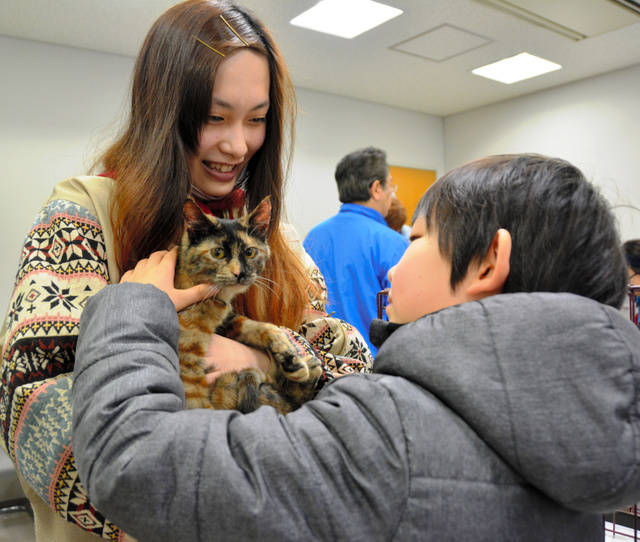 譲渡会で猫に触って相性を確かめる湯本紗良さん(左)と弟の悠雅君=長野市
