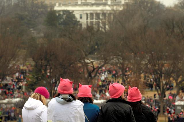 ワシントンで1月21日、ピンクの帽子をかぶってホワイトハウスを見下ろすデモ参加者=ロイター