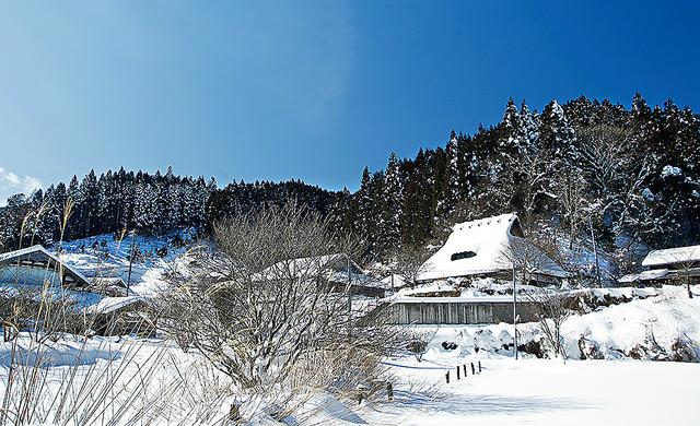 安野さんがスケッチしたとみられる花背の集落。寒波の影響で雪景色となった=京都市左京区、伊藤菜々子撮影